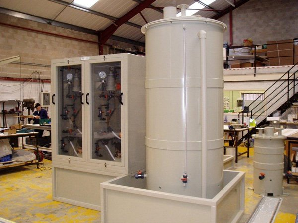 Chemical dosing cabinet complete with Tank, Skid & Pipe work in Beige Polypropylene