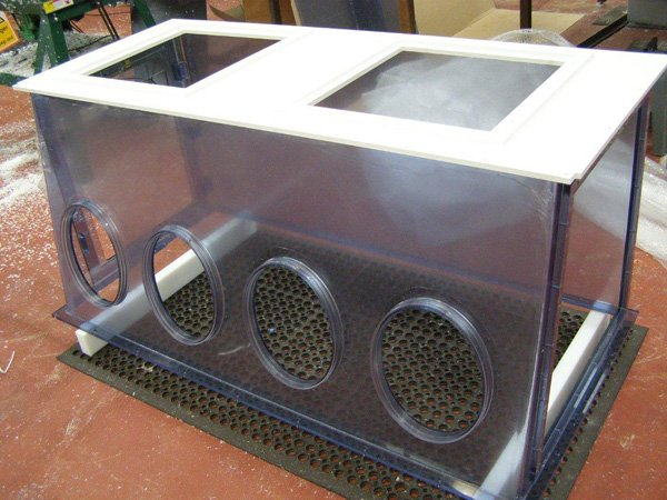 Clear PVC Isolator c/w bonded Elliptical Glove ports in PVC
